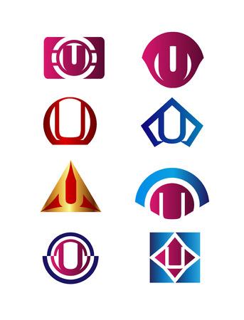 set symbols: Set of letter U Branding Identity Corporate vector symbol design template