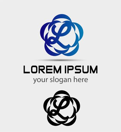 Letter l icon design template elements