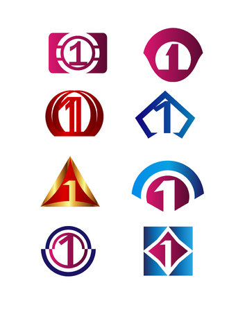 number icon: Number 1 design template elements icon