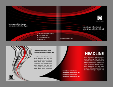 two page spread: Tri-fold Brochure Layout Design Template Illustration