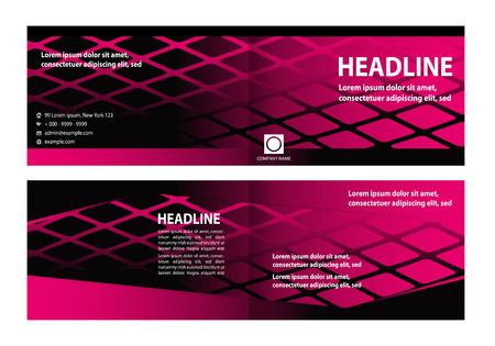 Business Style Bi-Fold Brochure Design. Corporate Leaflet, Cover Design Template Illustration