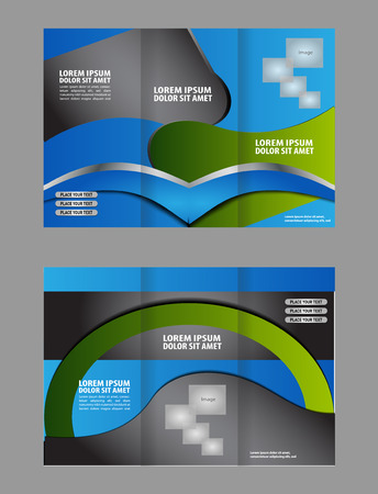 the publisher: Tri-fold brochure template design with blue color Illustration