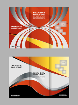 ambience: Template design of trifold brochure with polygons. Editable and light vector with places for photos. Proportionally A4