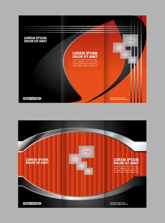 magazine stack: Tri-fold brochure template design, business leaflet, booklet wave