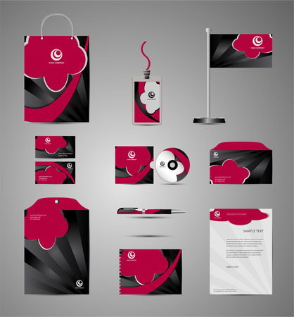 documentation: Red stationery template design with round element. Documentation for business