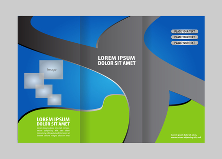 spread sheet: Vector empty tri-fold brochure print template design, trifold bright booklet or flyer