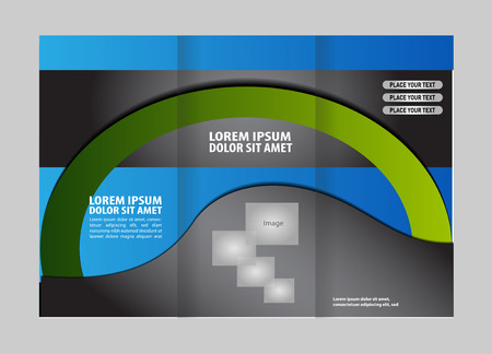 spread sheet: Vector empty trifold brochure template design with blue