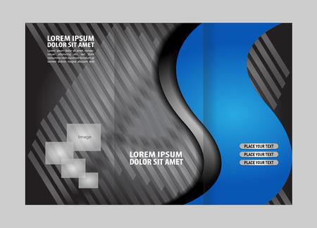 fold: Blue brochure tri fold template Illustration