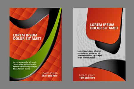 global work company: Red brochure bi fold template Illustration