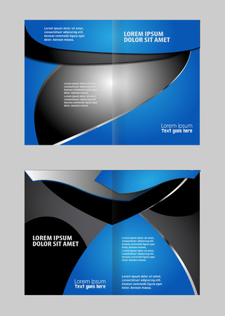 bifold: Vector modern bi-fold brochure design template with red background
