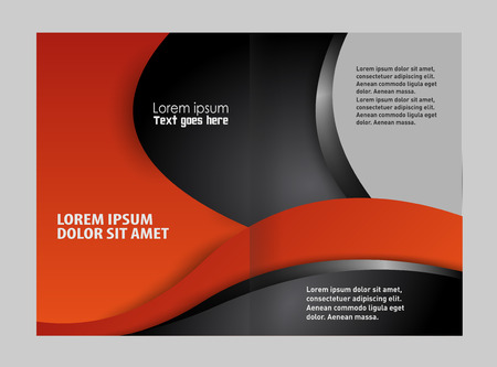 bifold: Vector empty bi-fold brochure print template blue design Illustration