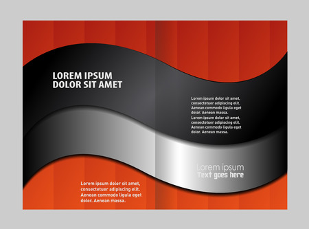 magazine stack: Empty bi-fold brochure template design with red color, booklet