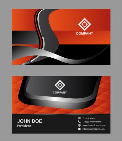 modern business: Orange Modern Abstract Business - Card Set Illustration