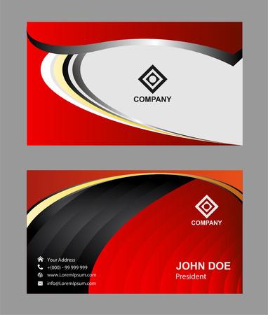 modern business: Red modern business card template Illustration