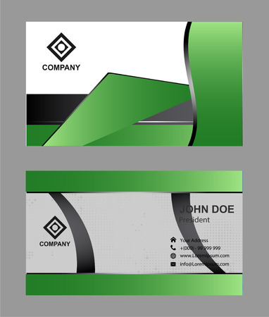 green ribbon: Modern, simple & luxury standard business card design with sharp corners