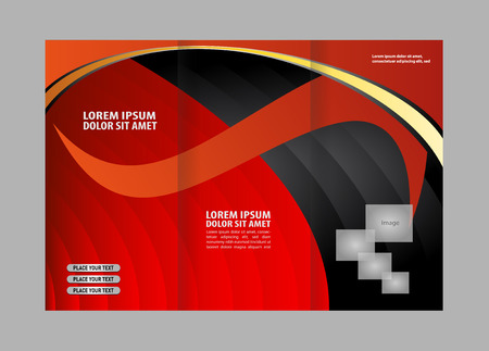 rollover: Professional business three fold flyer template, corporate brochure Illustration