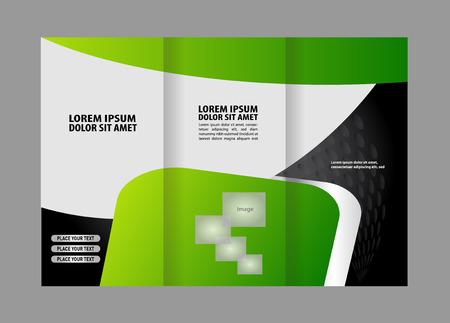 invitation barcode: Tri-fold brochure template Illustration