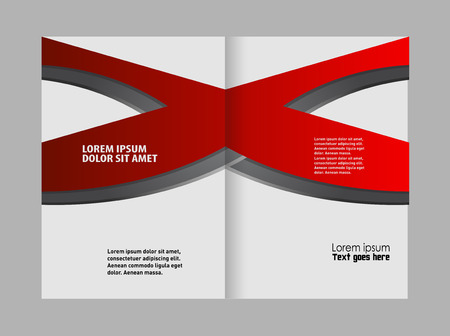 bi: Red brochure bi fold template Illustration