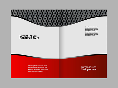 publisher: Bi-fold brochure template design with red color