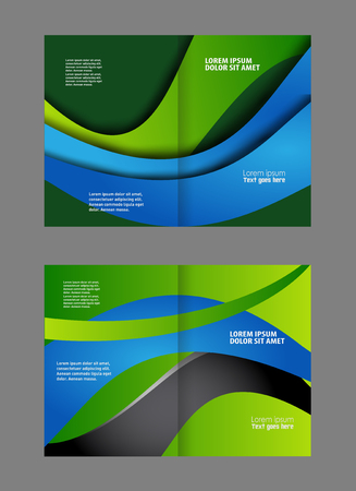 bifold: Bi-fold brochure template design with green color