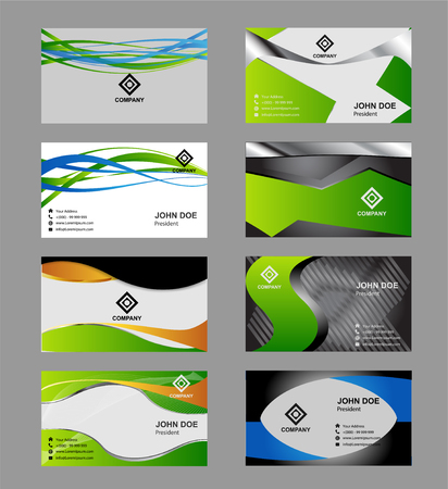 mega phone: Set of Creative and Clean Business Card Print Templates. Flat Style Vector Illustration
