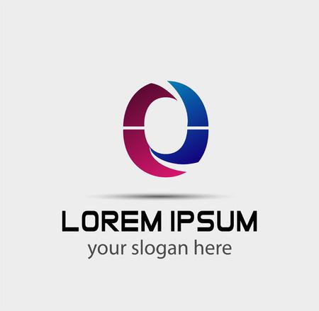 Lettre o icône logo éléments de modèle de conception