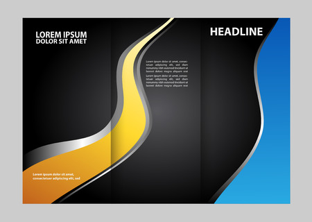 Vector empty tri-fold brochure print template design, trifold bright booklet or flyer