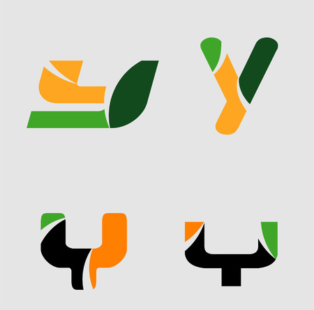 Alphabetical Logo Design Concepts Letter y set Illustration