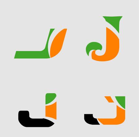 Letter J logo design template set, collection Illustration