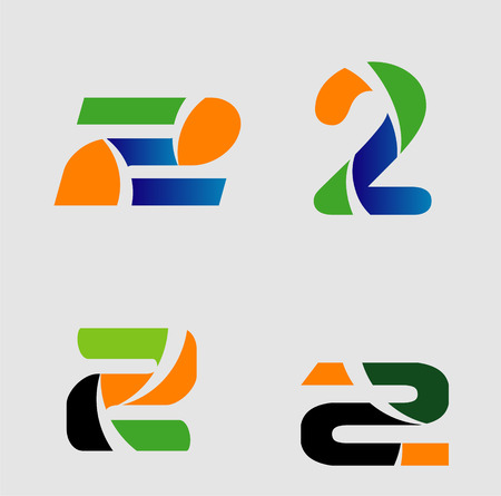 Abstract icons for number 2 logo vector set