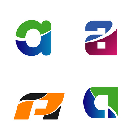 Abstract icons based on the letter a set
