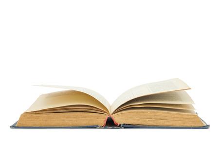 fondo de graduacion: Libro abierto aislada sobre fondo blanco
