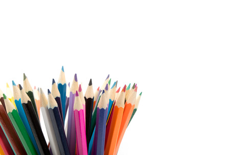 Colorful pencils in pail isolated on white photo