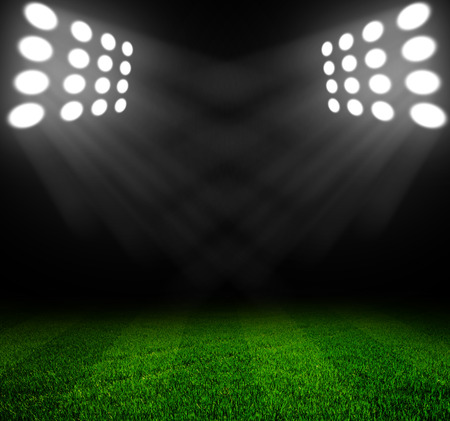 stadium lights at night and stadium Foto de archivo
