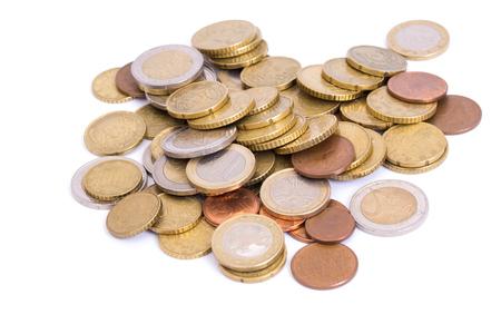 golden coins isolated on white background Standard-Bild