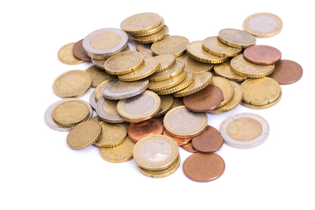 golden coins isolated on white background Foto de archivo