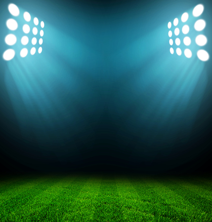 soccer sport: stadium lights at night and stadium Stock Photo