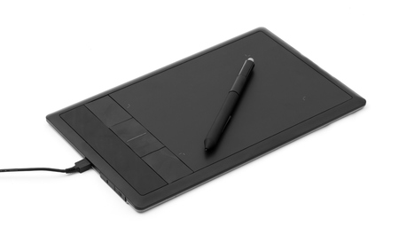 graphic tablet: digital, graphic tablet and pen isolated on white Stock Photo