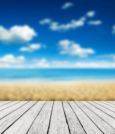 ocean floor: Wood, blue sea and sky background