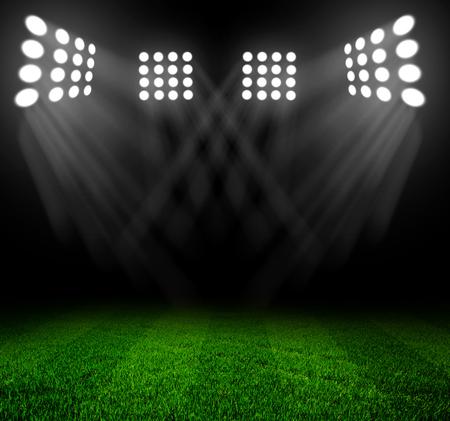 rugby field: stadium lights at night and stadium Stock Photo
