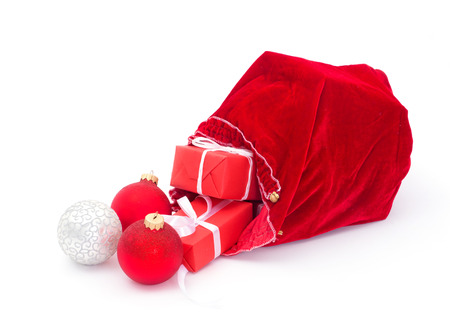 Santa Claus red bag with Christmas balls and gift box