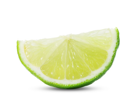 lime slice: Limes with slices isolated on white background
