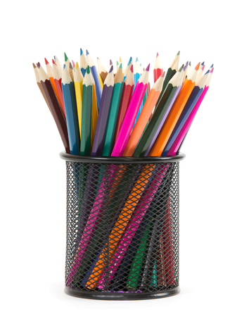fine tip: Colorful pencils in pail isolated on white Stock Photo