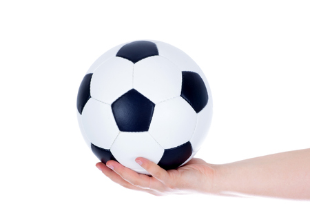 low prizes: Hand holding soccer ball up isolated on white