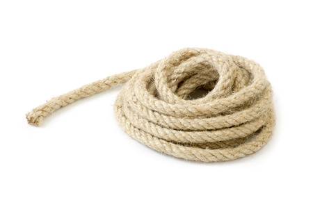 twisted: Twisted thick rope on white