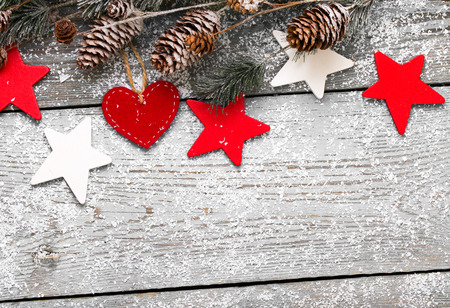 Christmas Decoration Over Wooden Background 写真素材