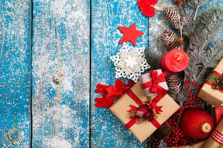 Christmas Decoration Over Wooden Background Standard-Bild