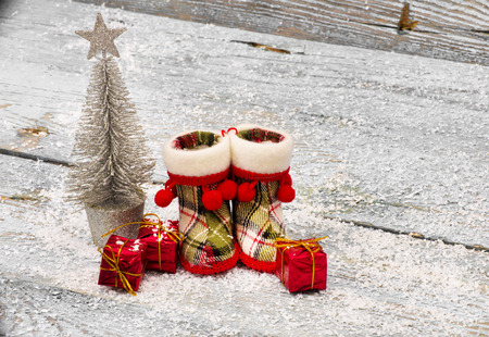 holiday of food: Christmas Decoration Over Wooden Background Stock Photo