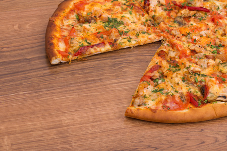 lifted: Supreme pizza lifted slice