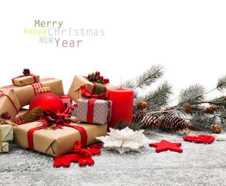 Christmas Decoration over houten achtergrond Stockfoto